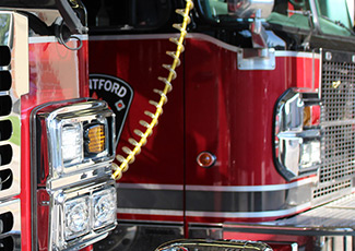 close-up of brantford firetrucks