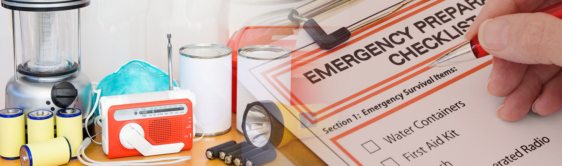 emergency materials and clipboard