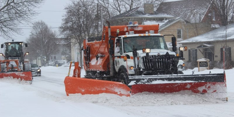 Brantford snow plow removing snow