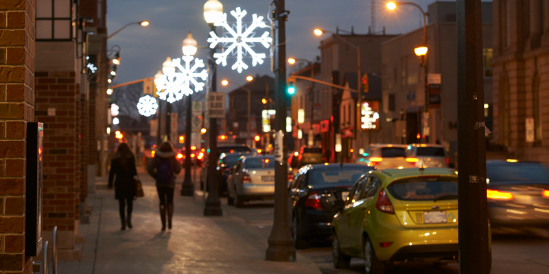 Downtown Brantford with holiday lights