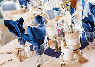 closeup of banquet table setting