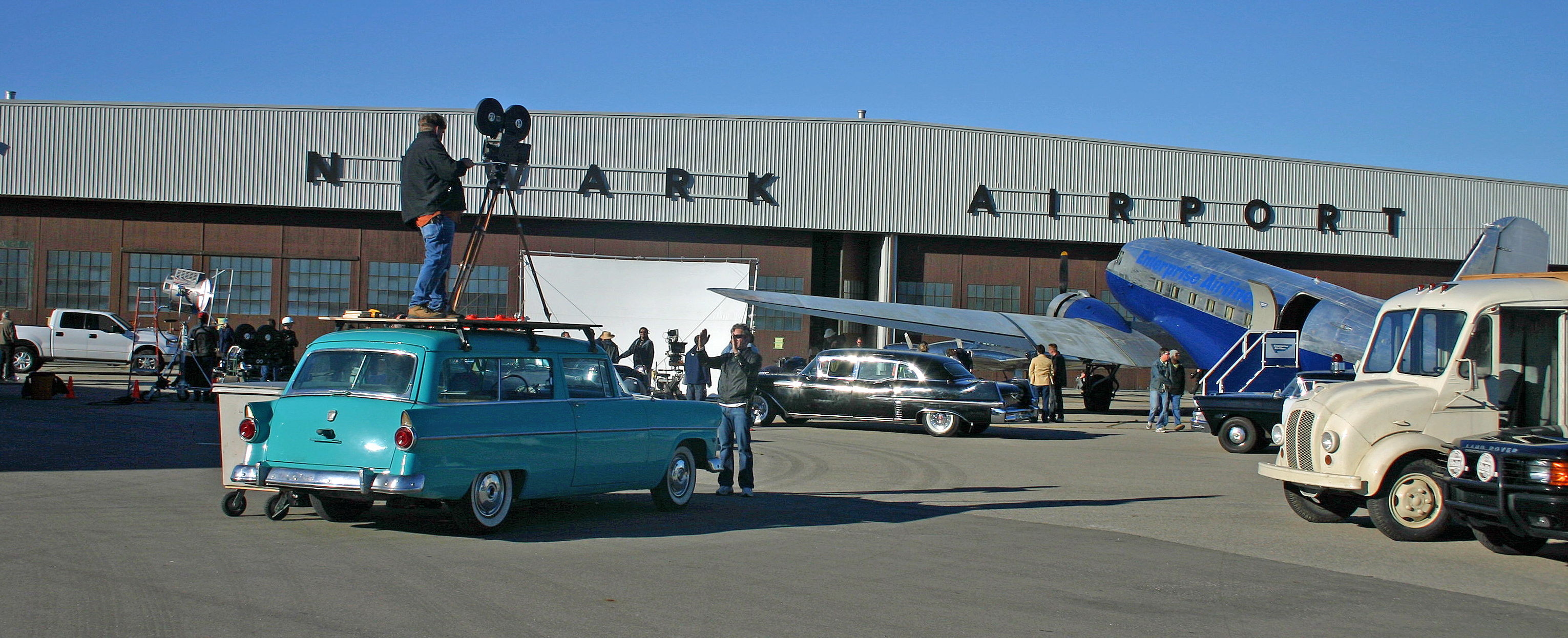 Image of a movie being filmed at the Brantford airport.