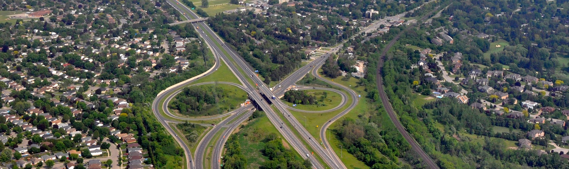Aerial view of brantford highways