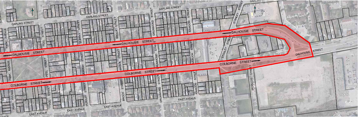 Map 2 – Detailed study area from Park Avenue to Colborne Street and Dalhousie Street junction